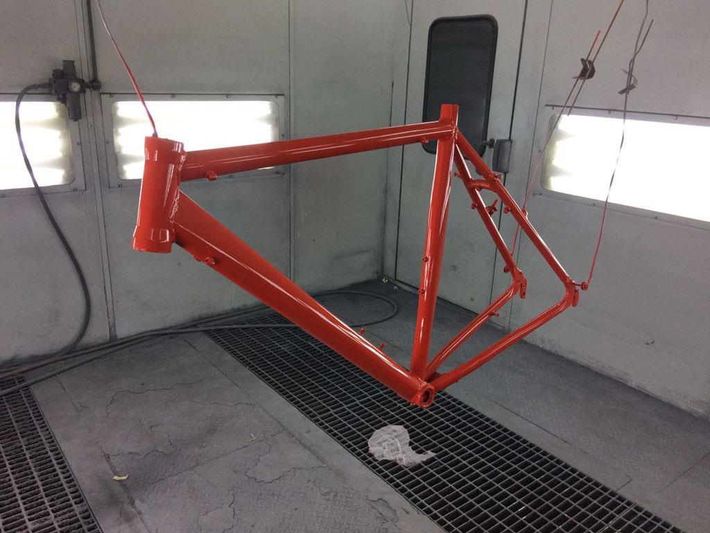 Fiets frame overspuiten