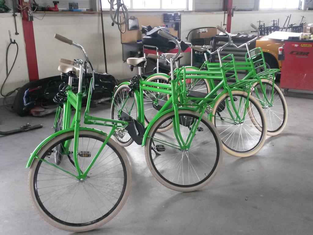 Serie fietsen overspuiten